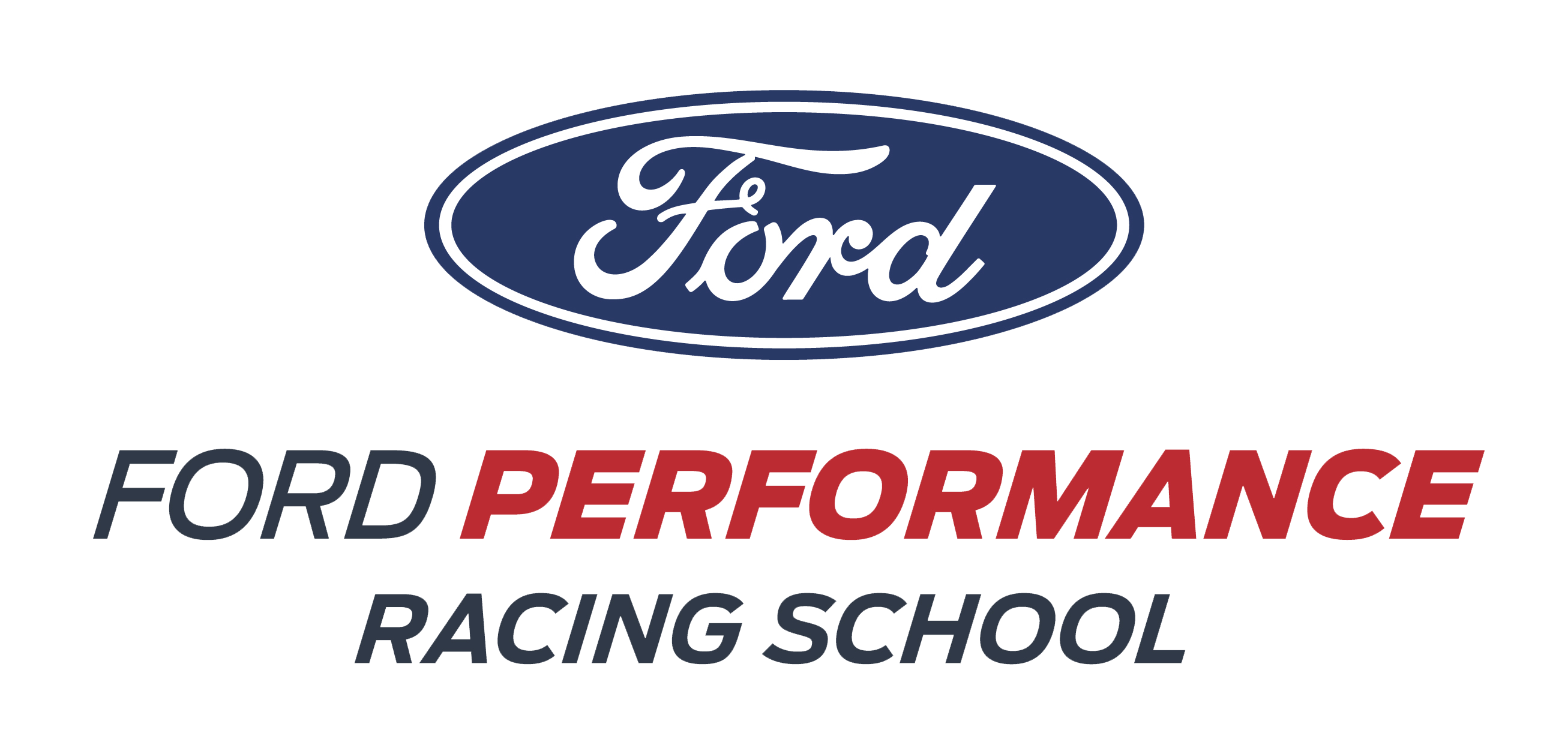 ford performance racing school white logo long