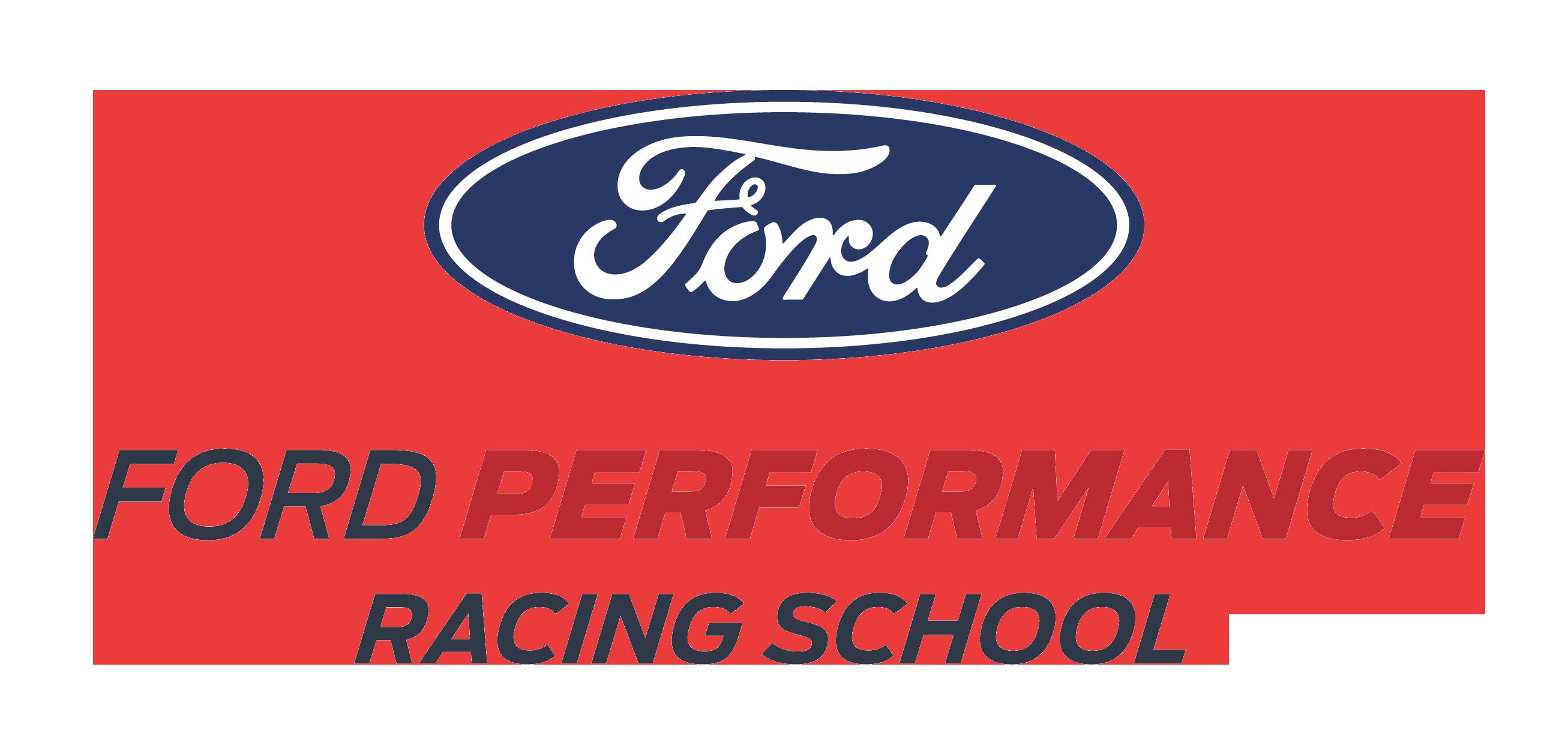 ford performance racing school white logo long